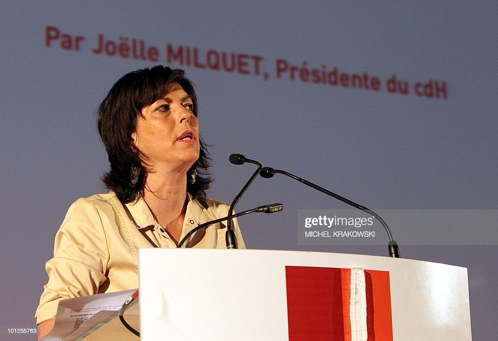 CDH chairwoman Joelle Milquet gives a speech during the elections congress of French speaking Belgian christian democrate party cdH, on May29, 2010, in Rocourt near Liege, Belgium.