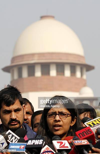 Chairwoman of the Delhi Commission for Women Swati Maliwal speaks to the media outside the Supreme Court in New Delhi on December 21 2015 India's...