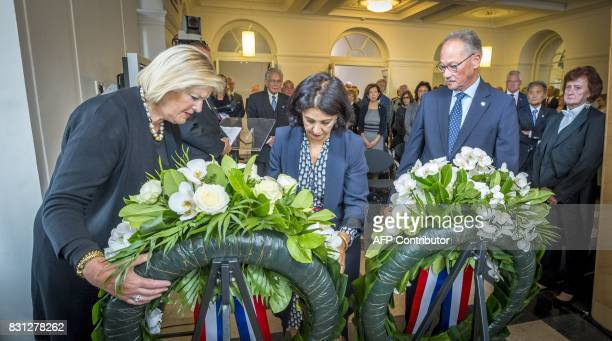 Chairwoman of the second chamber Khadija Arib chairwoman of the first chamber of the Dutch parliament in The Hague Ankie BroekersKnol and chairman of...