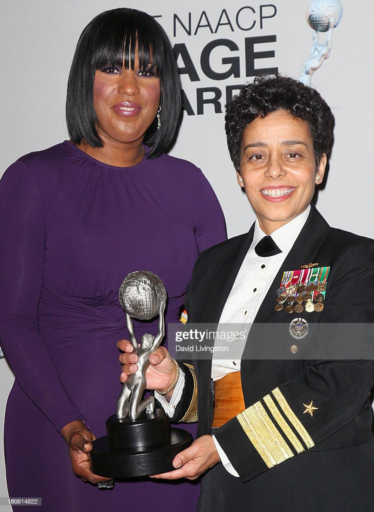 Chairwoman Roslyn Brock (L) and Vice Admiral Michelle Howard pose in the press room at the 44th NAACP Image Awards at the Shrine Auditorium on February 1, 2013 in Los Angeles, California.