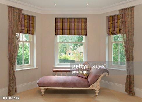 chaise longue in bay window