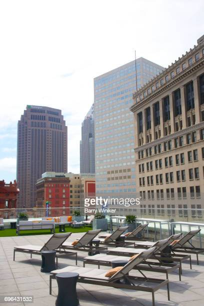 Chaise longues at Azure Rooftop Bar, Downtown Cleveland
