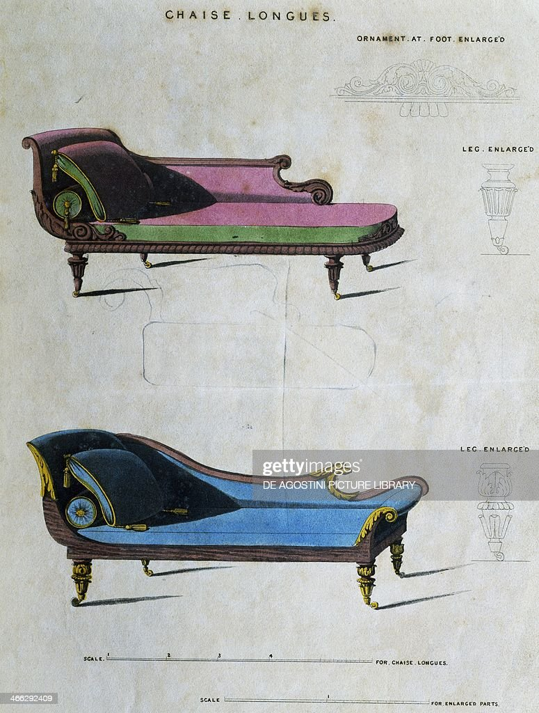 Chaises longues illustration by George Smith from Cabinet Maker and Upholsterer's Guide 1826 United Kingdom 19th century