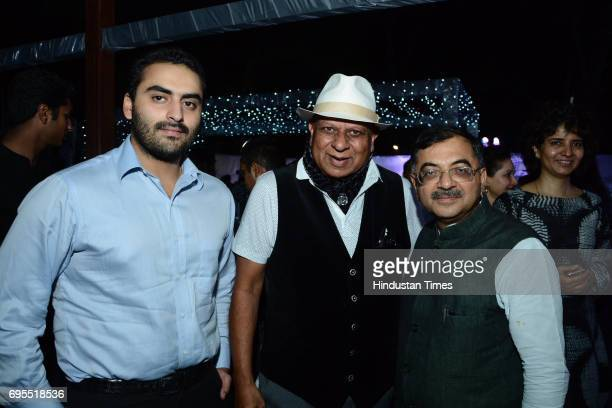 Chaitanya Raj Singh with businessman and author Bhupendra Kumar Modi and BJP leader Tarun Vijay during a dinner party on June 9 2017 in New Delhi...