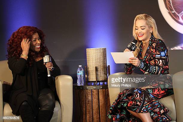 Chaka Kahn and Rita Ora speak onstage during GRAMMY U Off The Record With Chaka Kahn at The Recording Academy on December 9 2014 in Los Angeles...