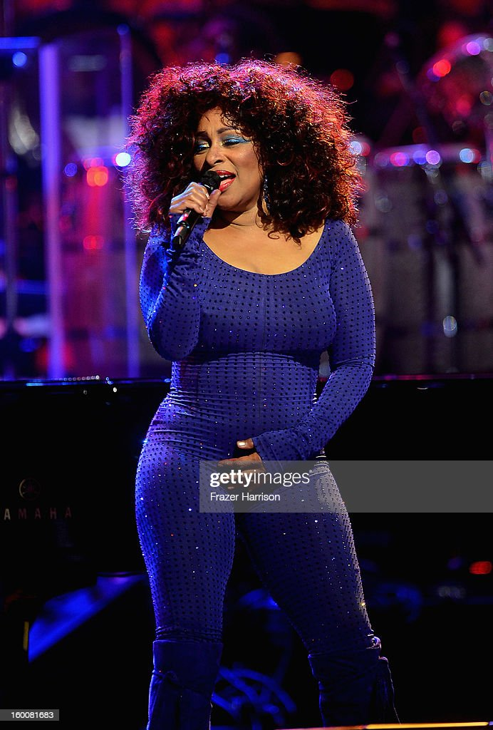 Chaka Khan celebrating Yamaha's 125th Anniversary Live Around the World Dealer Concert performs at the Hyperion Theater on January 25, 2013 in Anaheim, California.