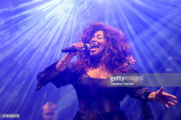 Chaka Khan headlines the main stage at the Love Supreme Jazz Festival at Glynde Place on July 4 2015 in Lewes England