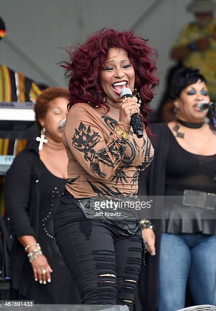 Chaka Khan performs during the 2014 New Orleans Jazz Heritage Festival at Fair Grounds Race Course on May 2 2014 in New Orleans Louisiana