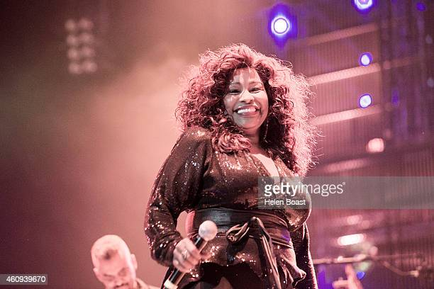 Chaka Khan performs on stage at the New Year's Eve Masterjam at Media City Amphitheatre on December 31 2014 in Dubai United Arab Emirates