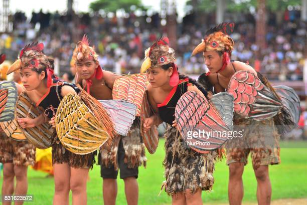 Chakeshang Naga performs a Chicken dance during the 70th India Independence day celebration in Dimapur India north eastern state of Nagaland on...