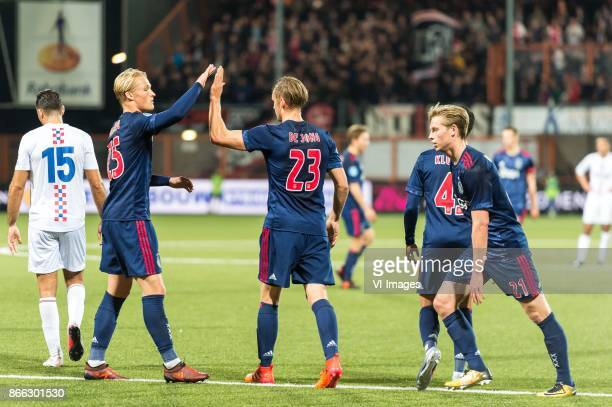 Chakib Tayeb of ASV De Dijk Kasper Dolberg of Ajax Siem de Jong of Ajax Justin Kluivert of Ajax Frenkie de Jong of Ajax during the Second Round Dutch...
