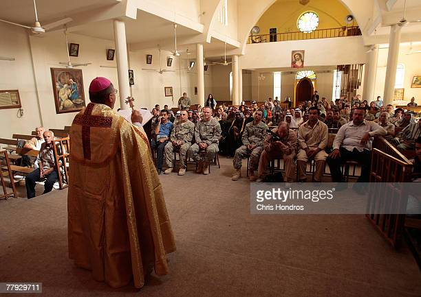 Chaldean Catholic bishop performs a Mass attended by Iraqi Christians local Muslim tribal leaders and US soldiers November 15 2007 in Bagdhad Iraq...