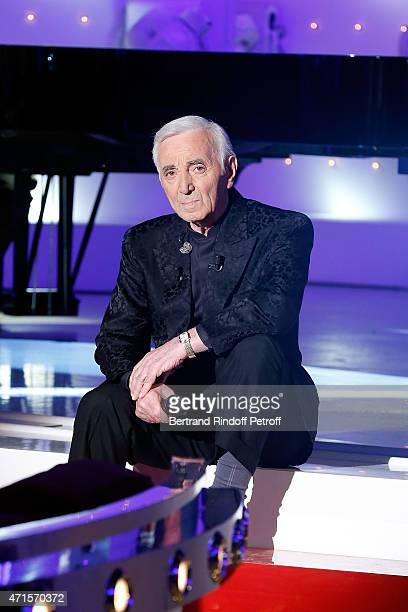 Chales Aznavour performs during the 'Vivement Dimanche' French TV at Pavillon Gabriel on April 29 2015 in Paris France