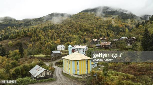 Chalet houses are seen at a forest displaying autumnal colors during autumn in Turkey's Kastamonu on October 16 2017