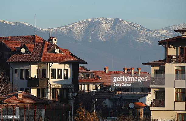 Chalets stand at the Bansko ski resort on January 10 2014 in Bansko Bulgaria Located in the Pirin mountains in southern Bulgaria the resort boasts...