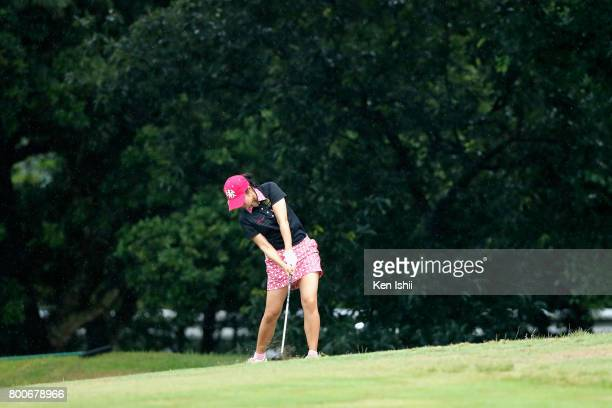 Chalisa Lim of Thailand hits a second shot on the 18th hole during the final round of the Yupiteru The Shizuoka Shimbun SBS Ladies at the Shizuoka...