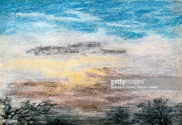 Chalk and crayon sketch by J S Dyason showing sunrise at 800 am 27 October 1883 On 27 August 1883 the volcano on the island of Krakatoa erupted in a...