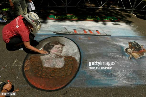 Chalk artist Jennifer Mosquera puts the finishing touches on a chalk art piece of Molly Brown during the Margaret 'Molly' Brown's 'Carnival of...