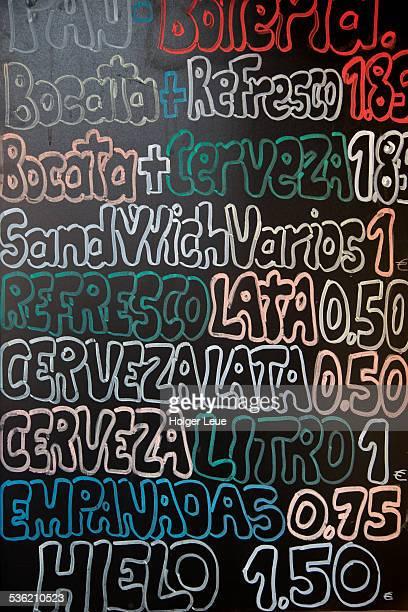 Chalk board menu at cafe bar
