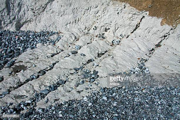 Chalk cliff showing layers of flint rock in Jasmund National Park on Rugen Island on the Baltic Sea Germany