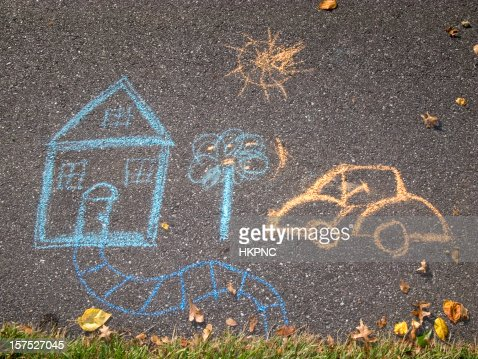 Chalk Drawing, House & Car On Asphalt Sidewalk / Path : Bildbanksbilder