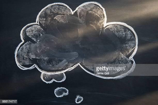 Chalk drawing of cloud on blackboard