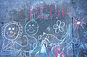 Chalk drawings on concrete wall, full frame