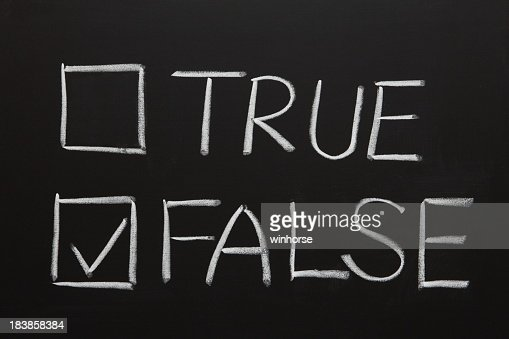 Chalkboard drawing of true and false with checkboxes