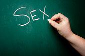 """The word """"sex"""" is written on a chalkboard."""