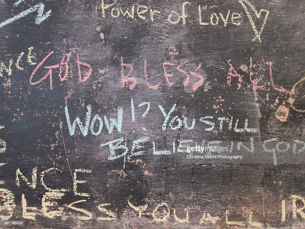 Chalkboard that says 'God Bless All'