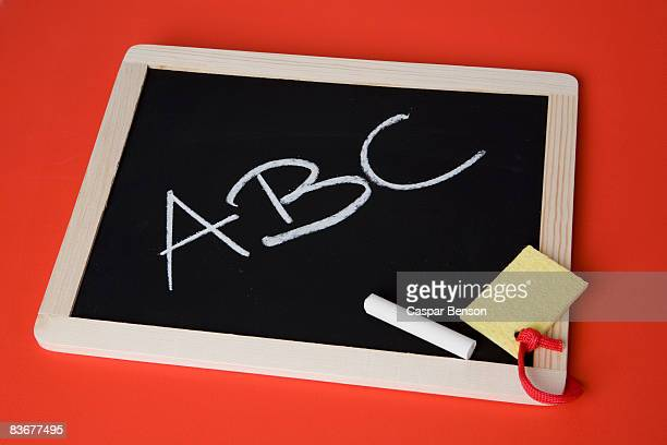 A chalkboard with 'ABC' written on it