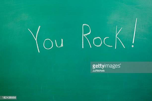 "Chalkboard with Compliment ""You Rock"""