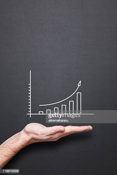chalkboard with hand and trend chart