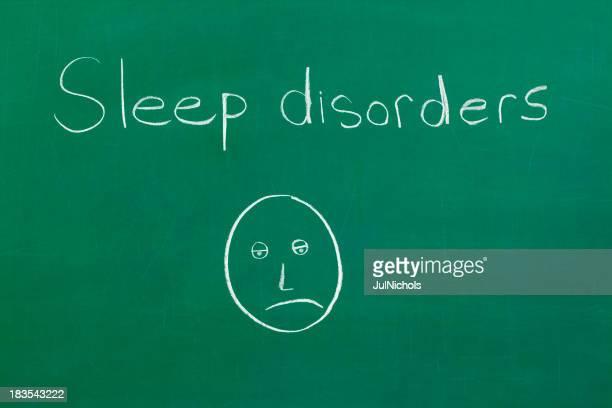 """Chalkboard con'i disturbi del sonno"""" e faccia disegno"""