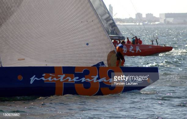 Challenge from Italy and Team China complete in an Act 6 race in Malmo Skane Sweden in preparation for the Louis Vuitton Cup on August 30 2005