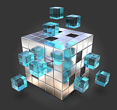Metal Cube with Blue glass parts. Black background. 3D render.
