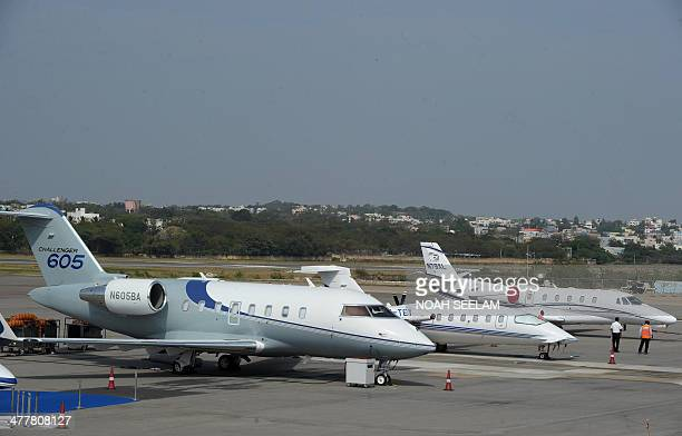 A Challenger 605 plane is parked on display at Begumpet Airport in Hyderabad on March 11 ahead of The India Aviation 2014 show The fourth India...
