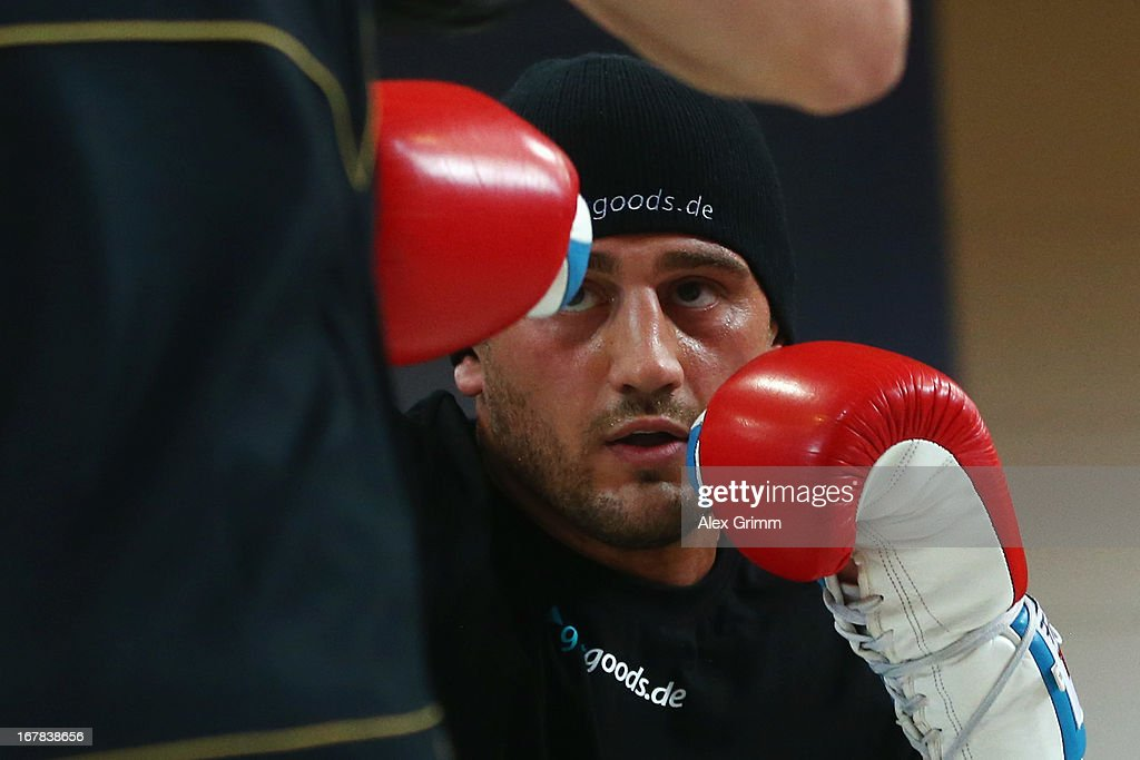 Challenger Francesco Pianeta exercises during the official training session ahead of his IBF, WBA, WBO and IBO World Championship fight against Champion Wladimir Klitschko of Ukraine on May 1, 2013 in Heidelberg, Germany.