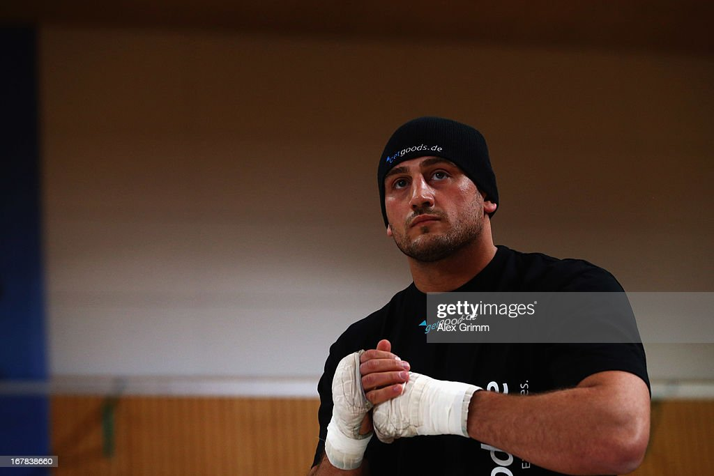 Challenger Francesco Pianeta looks on during the official training session ahead of his IBF, WBA, WBO and IBO World Championship fight against Champion Wladimir Klitschko of Ukraine on May 1, 2013 in Heidelberg, Germany.