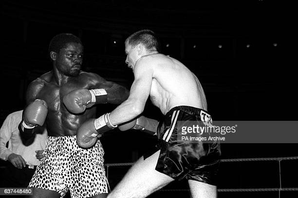 Challenger Jim McDonnell lets his guard drop as Azumah Nelson unleashes a combination