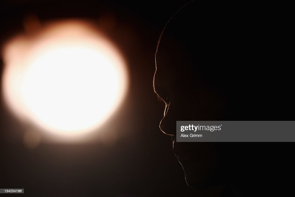 Challenger Martin Murray of Great Britain is silhouetted during a press conference at Holiday Inn Hotel on November 28, 2011 in Walldorf, Germany. WBA middleweight champion Felix Sturm will defend his title against Murray on December 02.