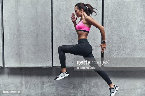 Challenging herself. : Stock Photo