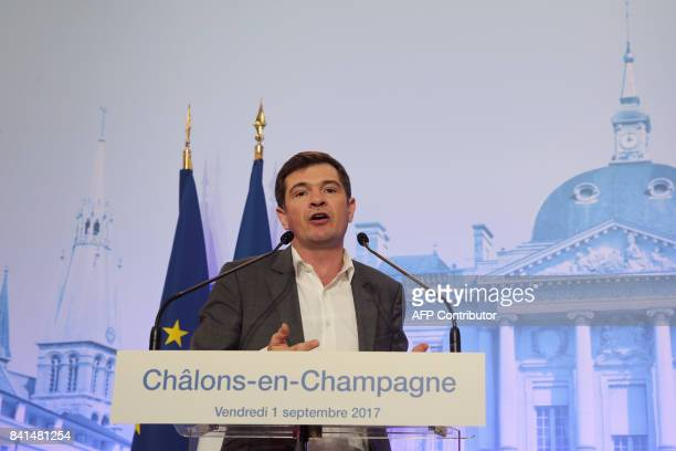 ChalonsenChampagne mayor Benoist Apparu delivers a speech during the inauguration of the Chalons Fair in ChalonsenChampagne on September 1 2017 / AFP...