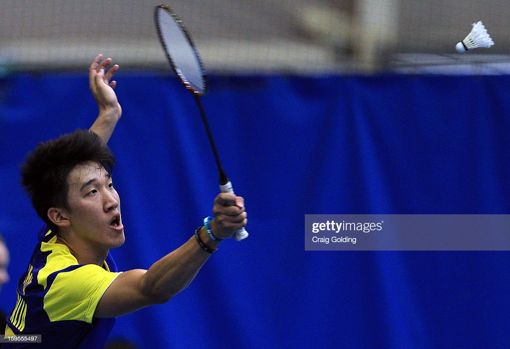 Cham Chen of Australia during the mens doubles badminton teams event on day one of the 2013 Australian Youth Olympic Festival in the Sports Halls at Sydney Olympic Park Sports Centre on January 16, 2013 in Sydney, Australia.