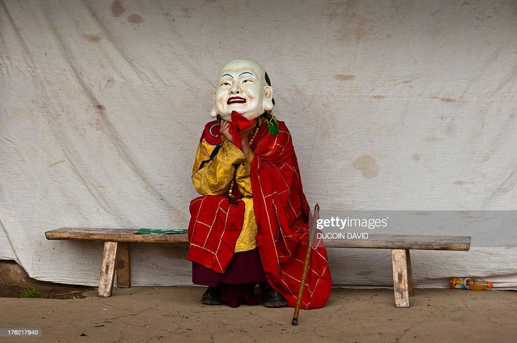 Cham religious dance in Sichuan, Tibet, China. : Stock Photo