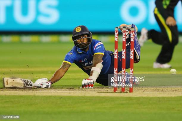 Chamara Kapugedera makes his ground in the dying stages during the first International Twenty20 match between Australia and Sri Lanka at Melbourne...