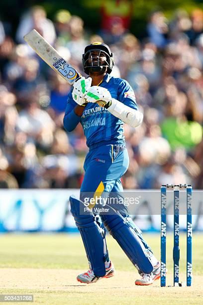Chamara Kapugedera of Sri Lanka bats during game five of the One Day International series between New Zealand and Sri Lanka at Bay Oval on January 5...
