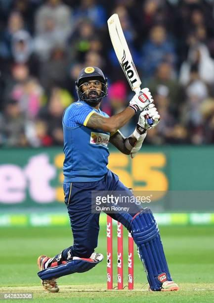 Chamara Kapugedera of Sri Lanka bats during the second International Twenty20 match between Australia and Sri Lanka at Simonds Stadium on February 19...