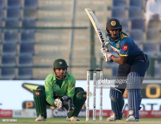 Chamara Kapugedera of Sri Lanka bats during the third one day international match between Pakistan and Sri Lanka in Abu Dhabi at Zayed Cricket...