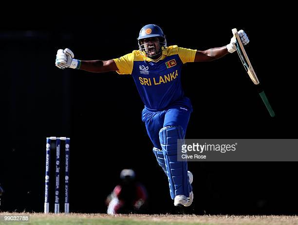 Chamara Kapugedera of Sri Lanka celebrates after hitting the winning runs during the ICC World Twenty20 Super Eight match between India and Sri Lanka...